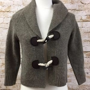 J Crew Toggle Button Wool Cashmere Beige Sweater